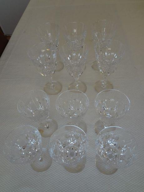 12 Copos Cálices em cristal ATLANTIS decoração Obidos NOVOS