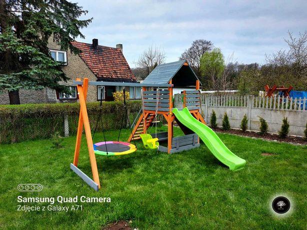 Drewniany plac zabaw, domek, wspinaczka, montaż GRATIS