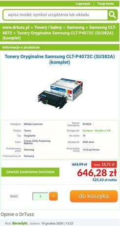 Nowe tonery Samsung p4072c
