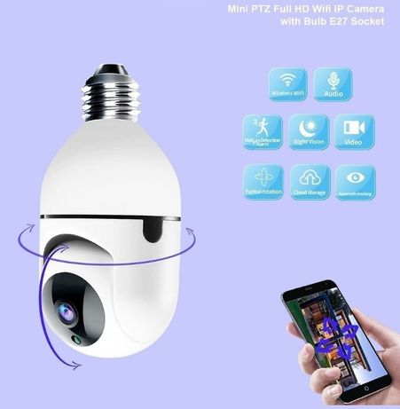 Câmera de Vídeo Vigilância • Casquilho E27 • 1080P • PTZ • IP66