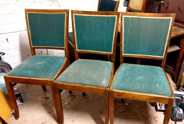 Krzesla drewniane tapicerowane 3 szt