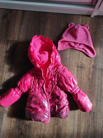 Kurtka zimowa pikowana ciepła różowa 80 9-12 mies. Czapka gratis.