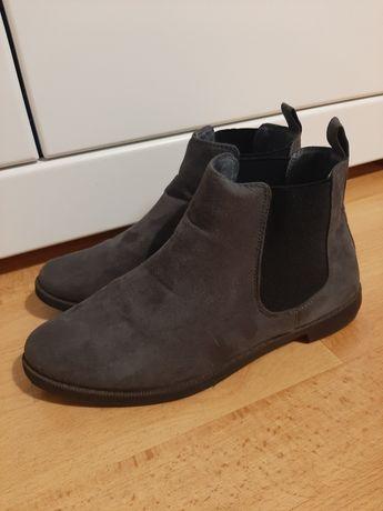 Buty botki damskie C&A r. 37 sztuczny zamsz, szare