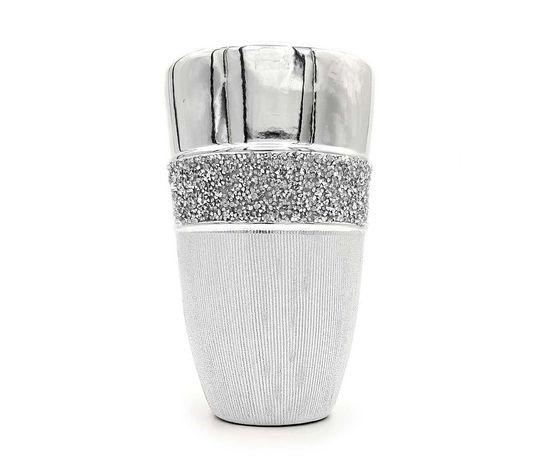 Wazon srebrny glamour ceramiczny z kryształkami diamencikami szeroki