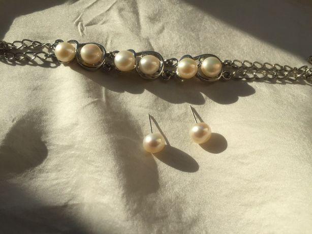 Bransoletka i kolczyki vintage perły retro