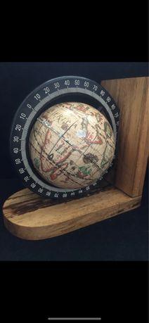 Podpórka do książek globus oryginał drewniana