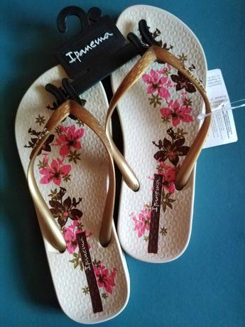 Klapki laczki japonki buty dziewczynki basen kwiaty iPanema 35 36