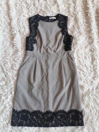 Monnari elegancka sukienka szara z koronka do pracy ML