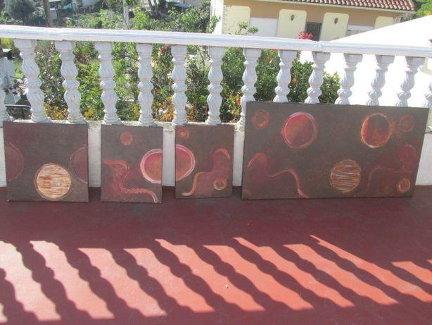 Quatro quadros pintados à mão a óleo sobre tela Monte Gordo