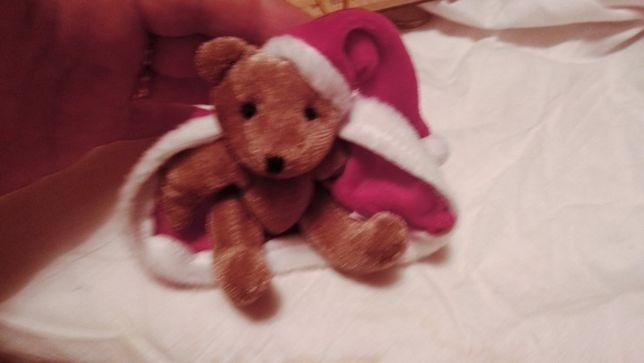 Игрушка мягкая мишка медведь коричневый одет как дед мороз новый год