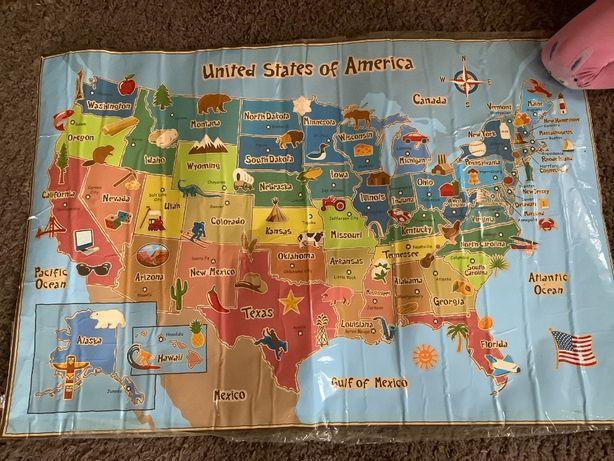 Карта наклейка на стену Соединенные Штаты Америки США новая