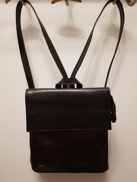 Czarny skórzany plecak , elegancki , damski , średni , firmy ANDREA