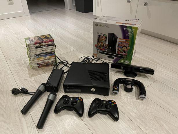 Xbox 360 2 pady kinect kierownica 2 mikrofony 14 gier Mega zestaw