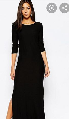 Длинное чёрное платье Boohoo