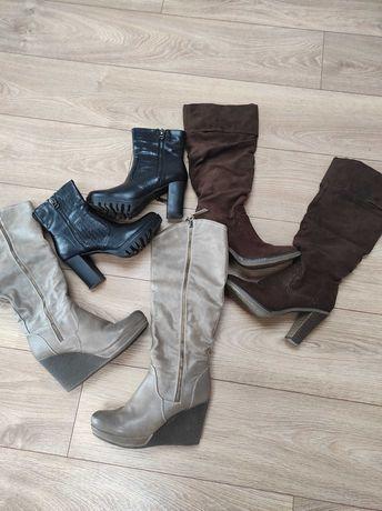 Zestaw butów damskich na zimę #kozaki #38 #na koturnie #na słupku