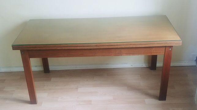 Stół, ława rozkładana ciemna (PRL)