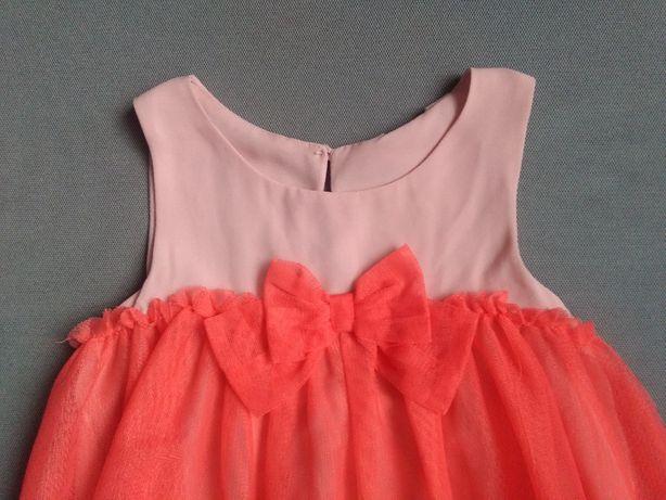 Sukienka HM z tiulem z kokardą różowa czerwona uroczystość wiosna lalo