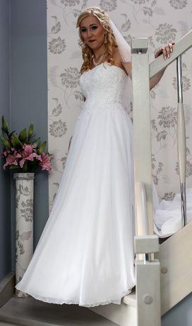Suknia ślubna biała z kryształkami/cyrkonie 36 38 40 tren koło welon