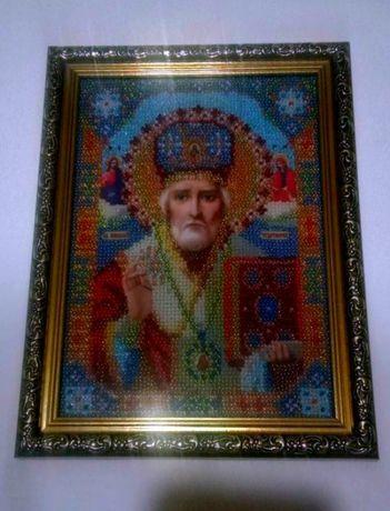 Икона Николай Чудотворец бисер ручная работа
