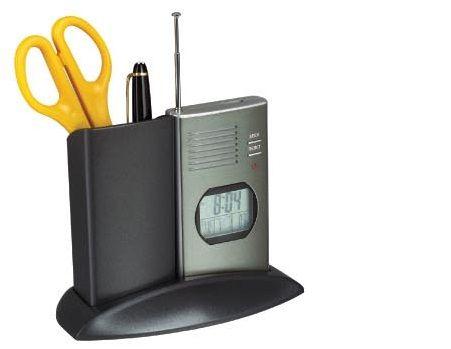 Pojemnik na pisaki z zegarem, termometrem i FM radiem - XK388, PREZENT
