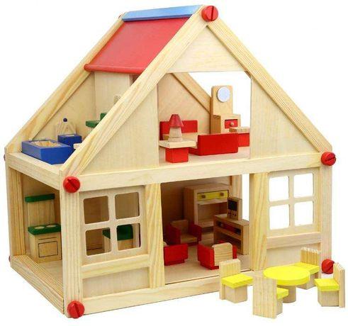 Smily Play Drewniany Piętrowy Domek 23 elementy. Nowy