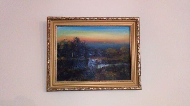 Obraz olejny zmierz zachód słońca widok polana łąka