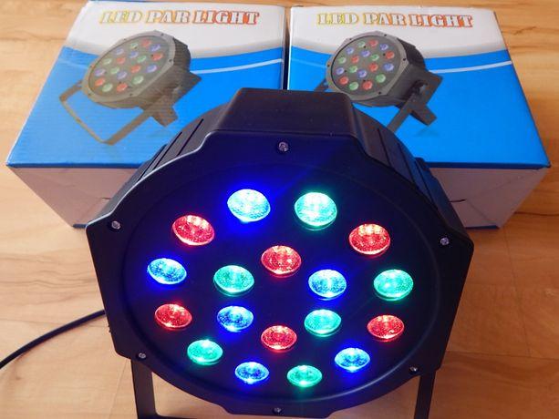 Reflektory Led Par 18x1W RGB. 8 sztuk. Inne oświetlenie i nagłośnienie