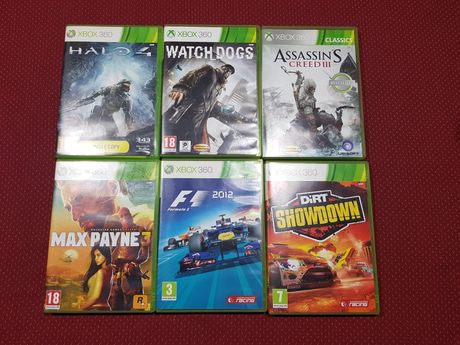 Jogos Xbox 360( Halo 3,4/Max Payne/Watch Dogs/Dirt/Assassins Creed/F1
