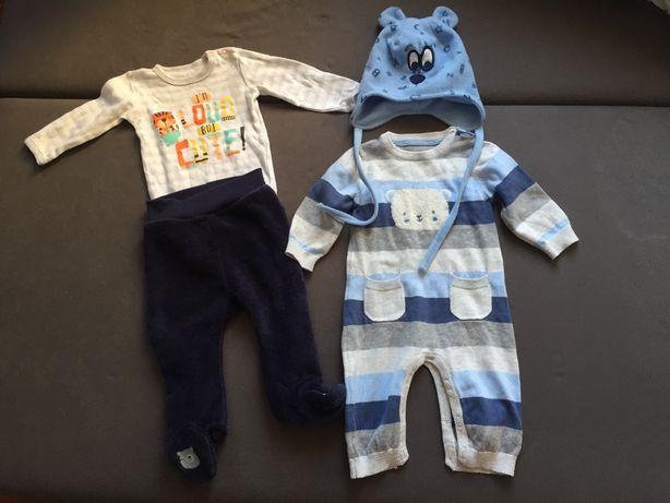 Ubranka dla niemowlaka chłopięce body spodenki rampers czapeczka 74