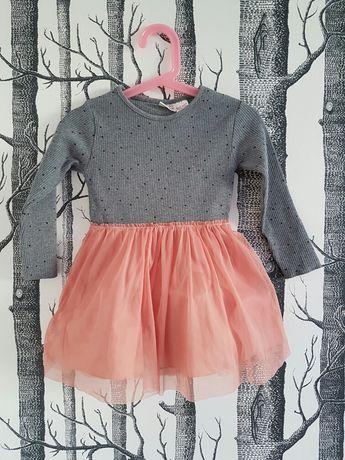Nowa sukienka Zara dla dziewczynki* szara*różowa* tiulówka*body*92
