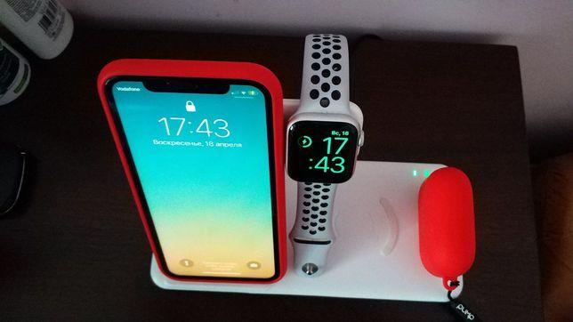 Беспроводная зарядка Dual Wireless Charger 4 в 1 для iPhone, Samsung