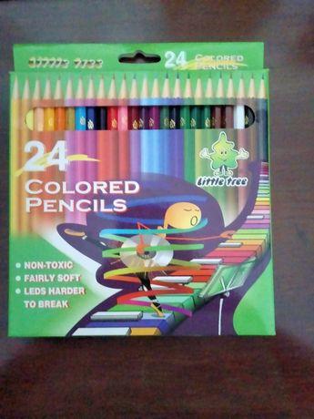 Caixa com 24 lápis de cor-Marca Little Tree