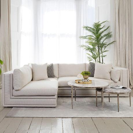 Sofa nowoczesna narożna rozkladana z funkcja spania nowojorska glamour