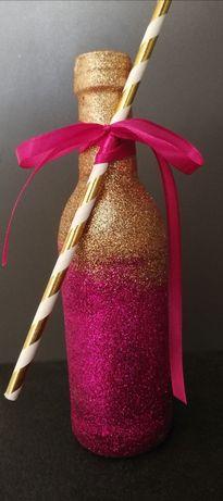 Brokatowa butelka szampana, butelka, złoty brokat