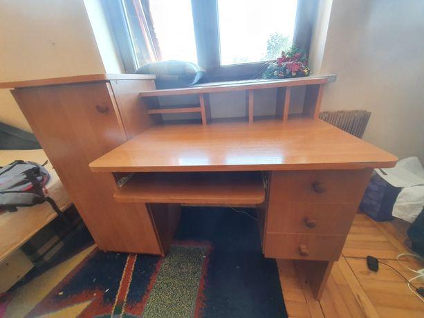 Biurko z duzą szafką i szufladami