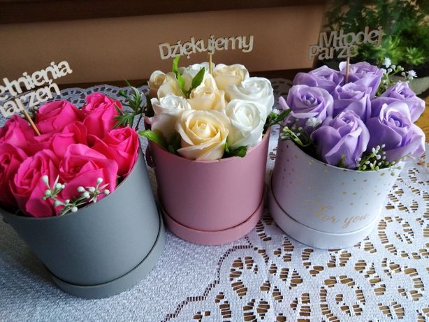 Mydlany flower box urodziny imieminy ślub dzień matki