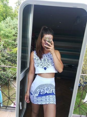 Zestaw spódnica bandażowa crop top krótka bluzka sukienka S