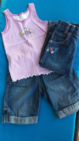 2 x krótkie spodenki + koszulka DZIEWCZYNKA 3-4 lata George
