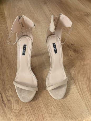 Sandalki zamszowe bezowe transparentne