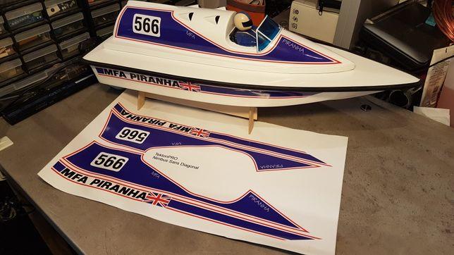 Nowe naklejki do modelu RC MFA Piranha mk.2, łódź zdalnie sterowana