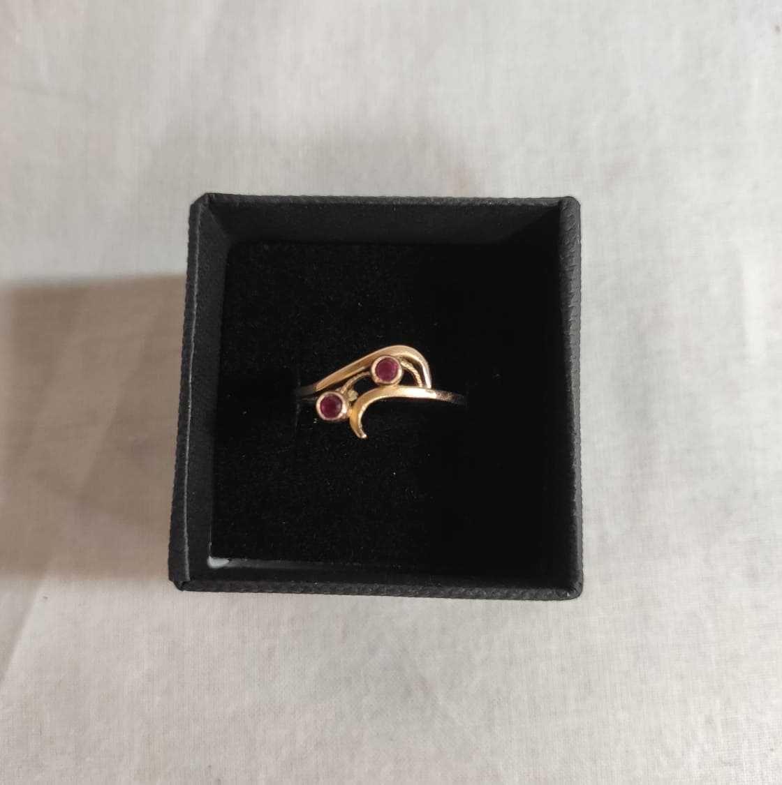złoty pierścionek z rubinami, lombard madej sc