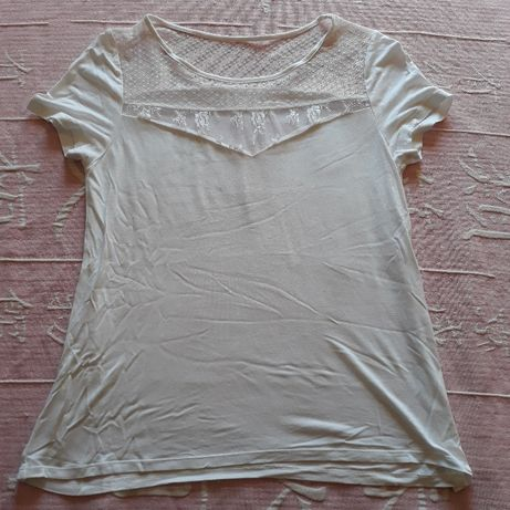 Blusa branca renda Promod