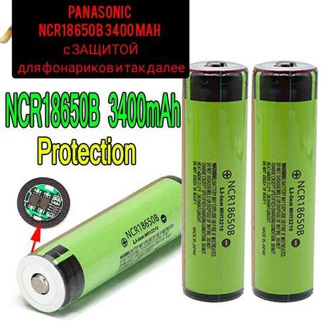 Аккумулятор Panasonic NCR18650B 3400 mAh с защитой для фонариков и Т.Д