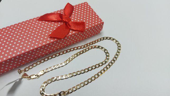 Piękny złoty łańcuszek [585] splot pancerka, 50cm