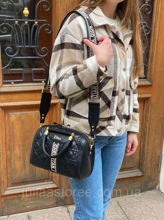Женская сумка на и через плечо Dior Диор с текстильным широким ремешко Одесса - изображение 1