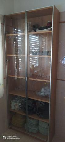 Estante com portas de vidro 80x30x202 cm