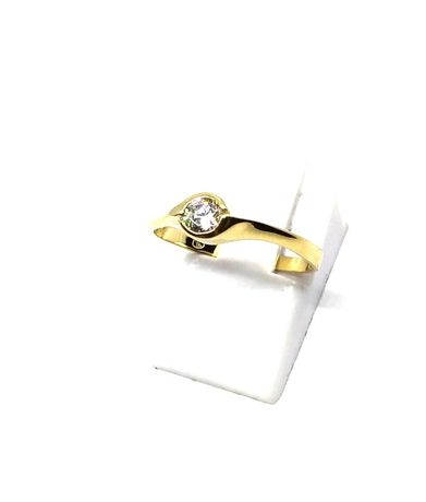 (M) Nowy złoty pierścionek z oczkiem 333 1,58 g r 15 Pudełko gratis
