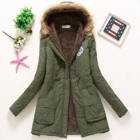 Damska kurtka zimowa zieleń wojskowa