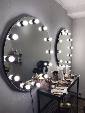Дзеркало з лампочками зеркало с лампочками с подсветкой для макияжа