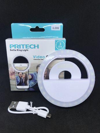 Selfie Ring Light para telemóvel com 3 níveis de luz LED